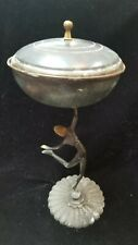 Vintage Hagenauer Style Art Deco Dancing Figure Brass Footed Compote Dish w/ Lid