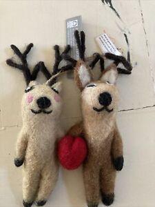Pottery Barn Wool Double Reindeer Heart Ornament Christmas Tree  New