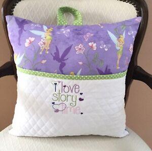 Tinker Bell Pocket Pillow. Reading/Book Pillow.16X16 Embroidered Pocket Pillow.