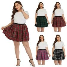 HDE Plus Size Plaid Skirt School Girl Lingerie Pleated Mini Skater Skirts