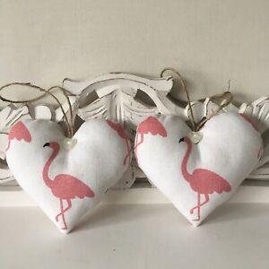 """Pair of Heart Door Hangers in Pink Flamingo Fabric ~ 5"""" ~ Handmade"""
