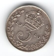 SOLID SILVER Threepence 1910 Coin King Edward VII Royal Mint England Vintage UK