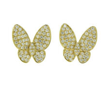 2.32ct NATURAL ROUND DIAMOND 14K SOLID YELLOW GOLD BUTTERFLY STUD EARRING