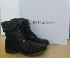Ladies Just Fab Black Faux Leather Lace Up Ankle Boots - UK Size 7 NEW 12C