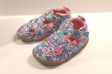 Carter's Artemis Blue Floral Leather Walking Shoes Size 3 Infant Girl 6-9 Months