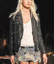 BALMAIN studded leather chain belt motorcycle coat SS11 biker punk jacket 42-FR