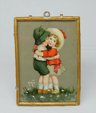 Vintage Picture in Gilt Metal & Glass Frame Germany Dollhouse Miniature 1:12