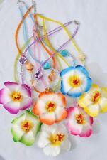12 HAWAIIAN NECKLACE LOT LUAU BEAD PLUMERIA FLOWER PARTY FAVOR BEADS JEWELRY