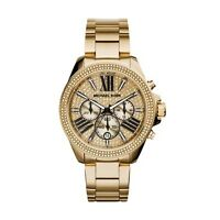 New Michael Kors Wren Gold Chronograph Women's Glitz Stainless Watch MK6095