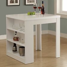 Wood Counter Height Table with Shelf Storage Island Kitchen Square Dining Pub