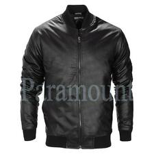 Zip Collared Faux Leather Bomber, Harrington Men's Coats & Jackets