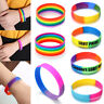 Gay Pride Rainbow Silicone Bracelets Bangles Trans LGBT Pride Letters Carved