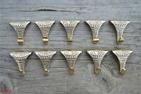 Set of 10 solid brass antique style acanthus picture rail hooks hook PRH1