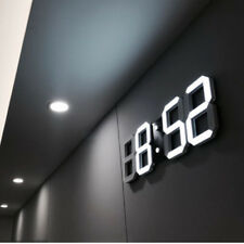 Moderne Digital 3D LED Alarm Wanduhr 24/12Hr Tischuhr Wecker mit Snooze Timer DE