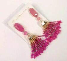 Kendra Scott Dove Statement Earrings Pink Rhodonite Mauve Gold Tassel New