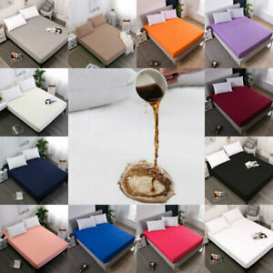 Waterproof Bed Fitted Sheet Bed Cover Protector Bed Pad Bedsheets Solid Color