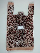 50 Qty Leopard Print Design Plastic T Shirt Retail Shopping Bags With Handles