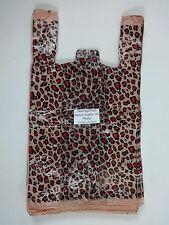 50 Qty. Leopard Print Design Plastic T-Shirt Retail Shopping Bags w/ Handles