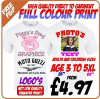 Design, Customise & Personalise Your Own Custom T-Shirt. Sizes age 3 to 5XL