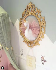 Cute 3D Gold Crown Swan Wall Hanging Animal Head  Doll Stuffed Toy Wall Art Deco