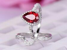 2CT Pear Cut Red Ruby Halo Diamond Wedding Bridal Ring Set 14k White Gold Over