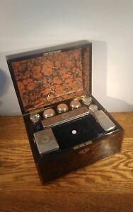 FABULOUS TOP QUALITY VICTORIAN  COROMANDEL & BRASS EDGED VANITY CASKET c1845