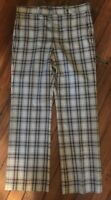 "Men's VTG 60-70's PANTS Trousers Paid Bell Bottom Brown Navy EUC 36""WX 32"""