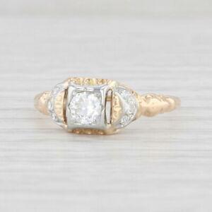 Art Deco Diamond Engagement Ring 14k Yellow 18k White Gold Size 7 Vintage