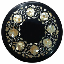 """12""""x12""""  Marble Round Coffee Table Top Marquetry Inlay Interior Furniture"""