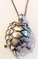 collier rétro couleur argent chaine pendentif tortue en  relief 323