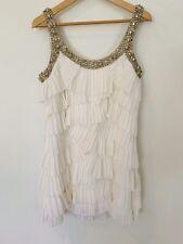 Rachel Gilbert Dress White Crystal Crepe Short Cocktail 2 8 10 1920's Style RARE