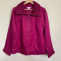 Susan Graver Jacket Collared Zip Front Womens Fuchsia Pockets Lined Size M