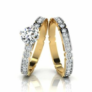 Real 14K Yellow Gold Round 1.00 Carat Solitaire Engagement Ring with Band 5 6 7
