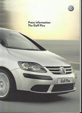VW VOLKSWAGEN GOLF PLUS S, SE, SPORT, GT TDI & GT  FSi PRESS BROCHURE  MAY 2005