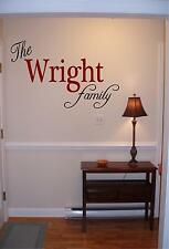 Personalized family name wall art vinyl decal/sticker decor custom family room