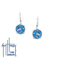 Guy Harvey Marlin Wire Dangle Earrings Full Color Enamel 15mm Sterling Silver