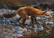 Original Oil painting of a Fox , Animal, Wildlife signed art Marla Epstein