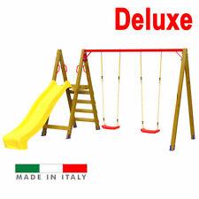 Scivolo in legno Altalena Giochi Giardino per bambini Composizione 5 Deluxe