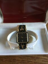 Ladies/Gents LAURENT DODANE Black & Gold Coloured Square Faced Watch & Band W686
