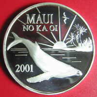 2001 HAWAII MAUI NO KA OI $1 TRADE DOLLAR 1oz SILVER PROOF WHALE BIRD PALM TREES