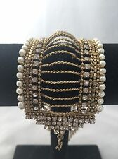 Indian  Bracelet Attached Rhinstones And Beads.mate Gold Color