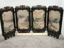 Chinese Four Panel Table Screen w/Silk Painted Scenes