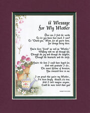 #8 Mother's Day gift present keepsake poem for mom, mother. 70th 80th birthday.
