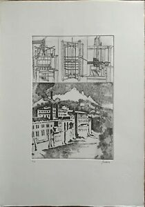 RENZO  BIASION acquaforte ANTICHE MACCHINE/ANTICHE FABBRICHE 50x35 anno 1983