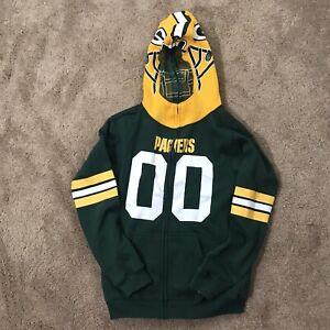 NFL Team Apparel Youth Medium 10-12 Green Bay Packers Full Zip Hoodie Helmet