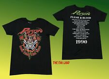 New Poison Flesh & Blood 1990 Tour Black Mens Vintage T-Shirt