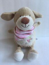 "Kellytoy Rattle Puppy Dog Pink Bandana Bone Baby Lovey 11"""