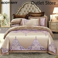 Luxury Jacquard Bedding Set Bed Linen Silk Cotton Duvet Cover Bed Sheet Set