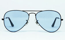 NOS VINTAGE SUNGLASSES RAY BAN LARGE BAUSCH LOMB BLACK METAL AVIATOR FRAME BLUE