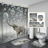 Christmas Serie Printing Bathroom Shower Curtain Toilet Waterproof Cover Mat New